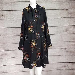 LOFT 6P Blouson Button Down Floral Dress Bow Tie